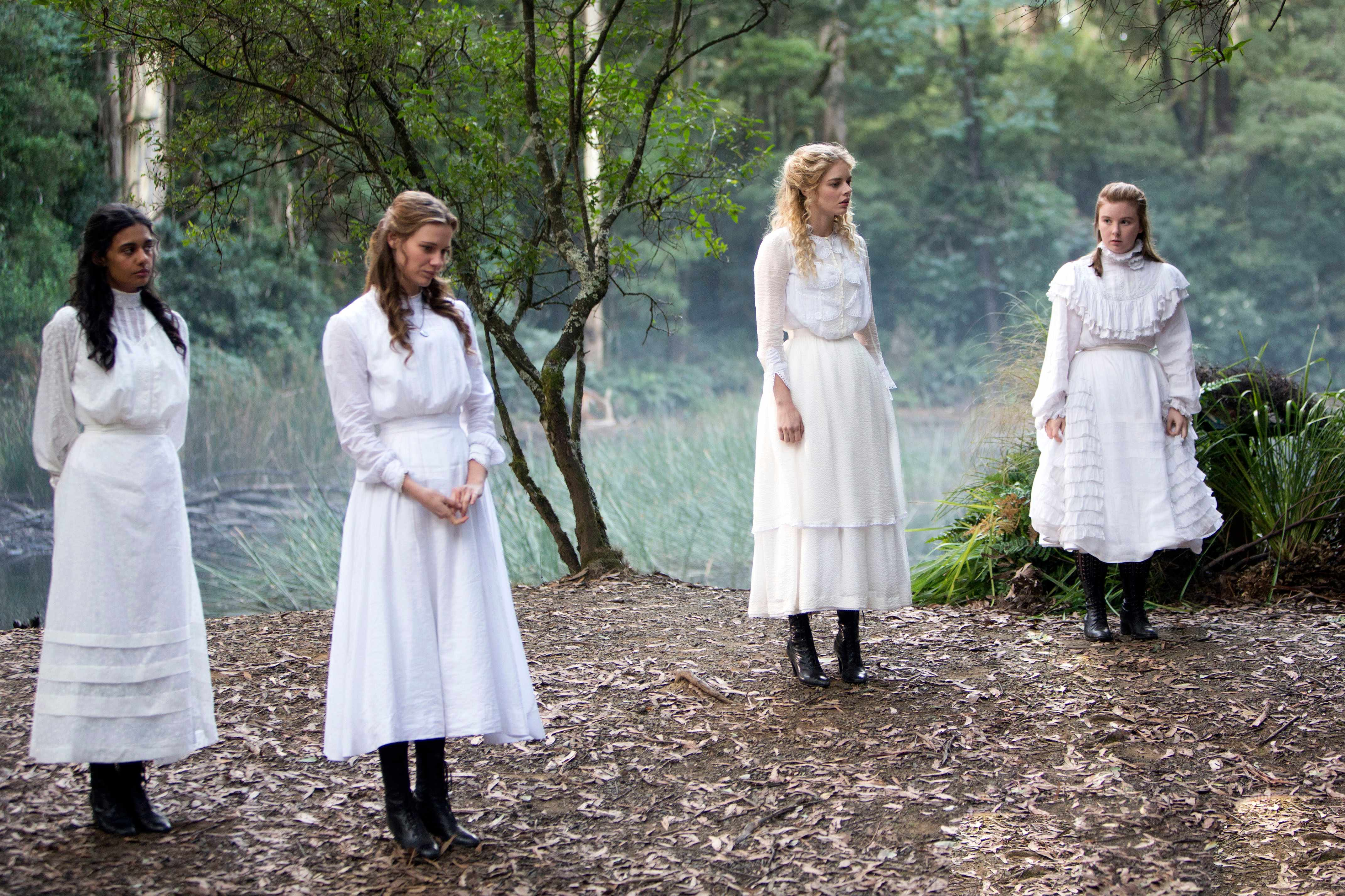 Programme Name: Picnic at Hanging Rock - TX: n/a - Episode: n/a (No. 1) - Picture Shows:  Marion Quade (MADELEINE MADDEN), Miranda Reid (LILY SULLIVAN), Irma Leopold (SAMARA WEAVING), Edith Horton (RUBY REES) - (C) Fremantle Media - Photographer: Sarah Enticknap