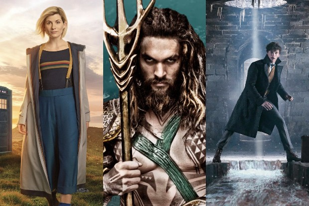 Jodie Whittaker as the Doctor, Jason Momoa as Aquaman and Eddie Redmayne as Newt Scamander (BBC, Warner Bros, HF)