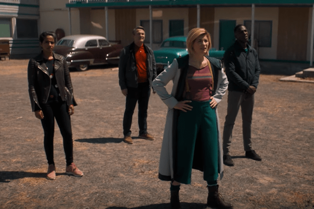 Jodie Whittaker, Mandip Gill, Bradley Walsh and Tosin Cole in the new Doctor Who trailer (BBC, HF)