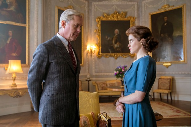 Alex Jennings in The Crown with Claire Foy
