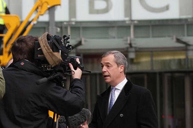 Nigel Farage on the BBC, Getty, SL