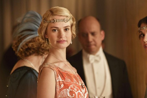 Lily James as Lady Rose on Downton Abbey (ITV, HF)