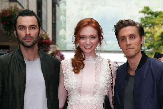 Farthing with Poldark co-stars Eleanor Tomlinson and Aidan Turner
