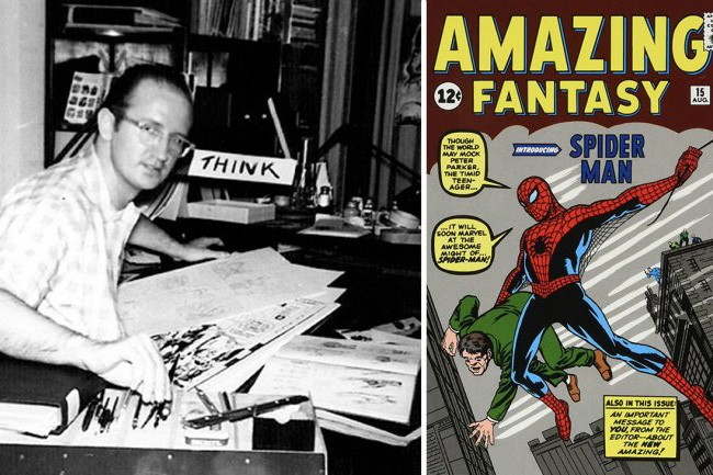 Steve Ditko with the first appearance of Spider-Man (Marvel, HF)