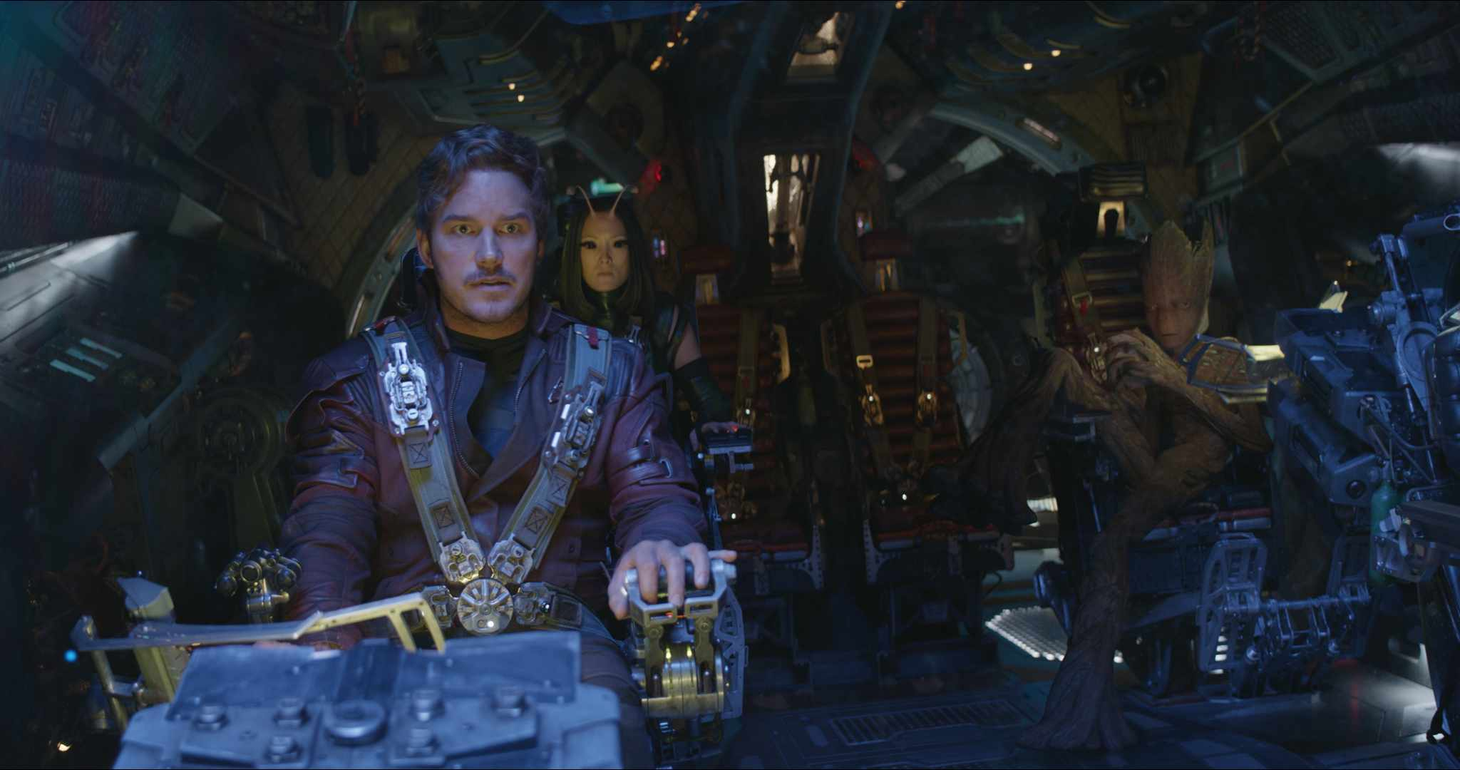 L to R: Star-Lord/Peter Quill (Chris Pratt), Mantis (Pom Klementieff), Groot (voiced by Vin Diesel)  DIsney, Marvel, sky pics, TL