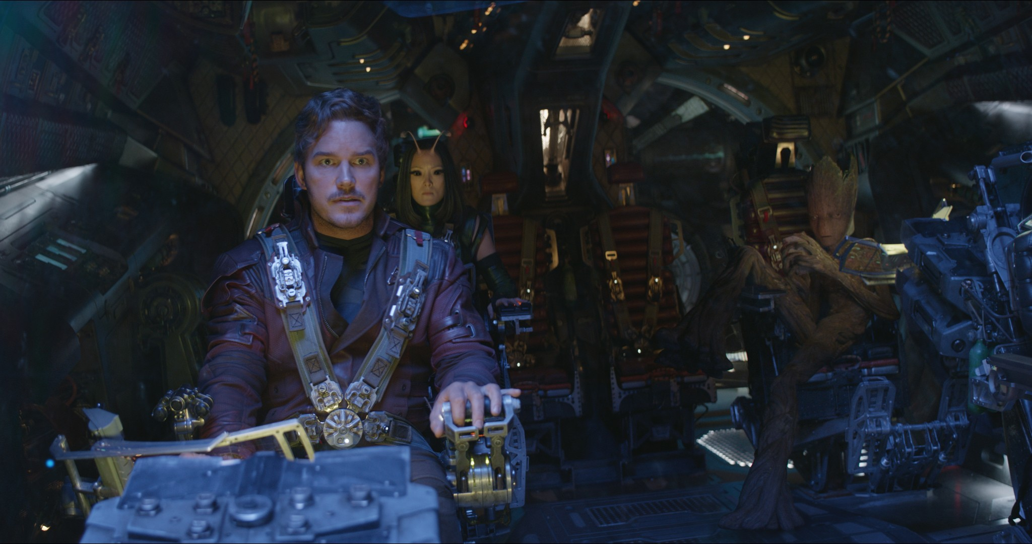 L to R: Star-Lord/Peter Quill (Chris Pratt), Mantis (Pom Klementieff), Groot (voiced by Vin Diesel)  DIsney, Marvel, sky pics, TL