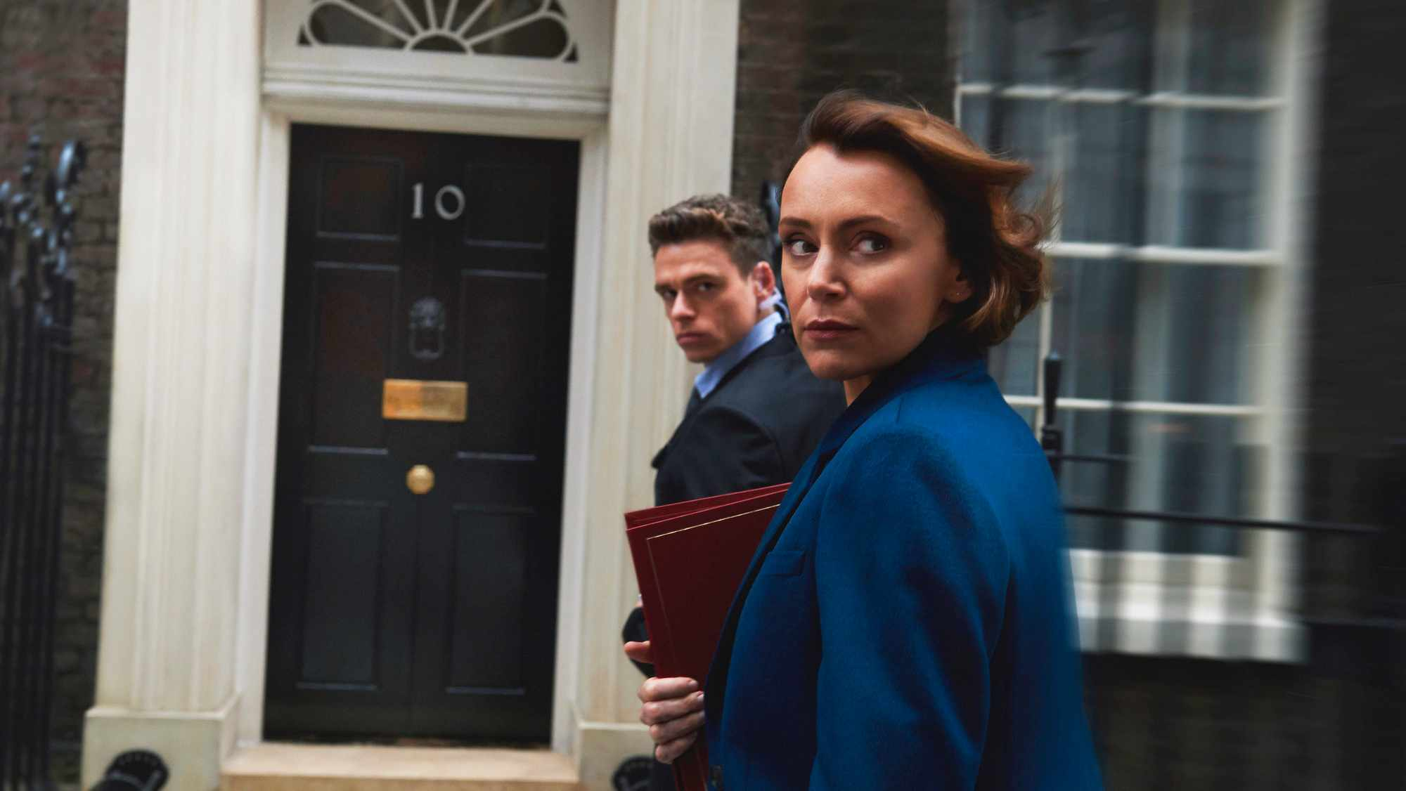Bodyguard's Keeley Hawes and Richard Madden with UK Prime Minister Theresa May (BBC, Getty, HF)