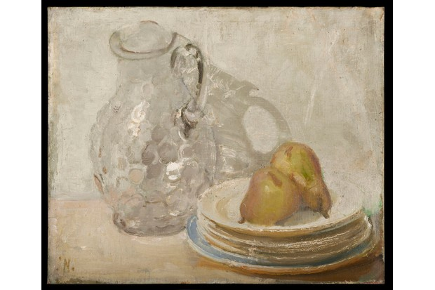 Painting 'Glass Jug with Plates and Pears' William Nicholson (BBC, TL)