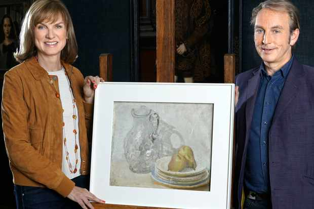 Presenters Fiona Bruce, Philip Mould with 'Glass Jug with Plates and Pears' by William Nicholson (BBC, TL)