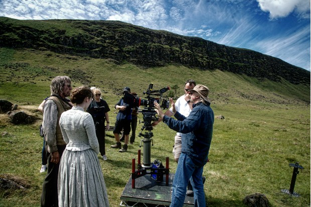 WARNING: Embargoed for publication until 11:00:00 on 14/08/2018 - Programme Name: Death & Nightingales - TX: n/a - Episode: n/a (No. n/a) - Picture Shows: BEHIND THE SCENES (l-r) Dummy McGonnell (MICHAEL SMILEY), Beth Winters (ANN SKELLY), production crew, writer/director Allan Cubitt filming in Kilwaughter, Belfast. - (C) Night Flight Pictures Ltd 2018 - Photographer: Teddy Cavendish