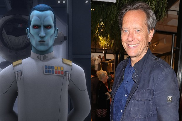 Thrawn as he appears in Star Wars Rebels alongside Richard E Grant (Sky, Getty, HF)