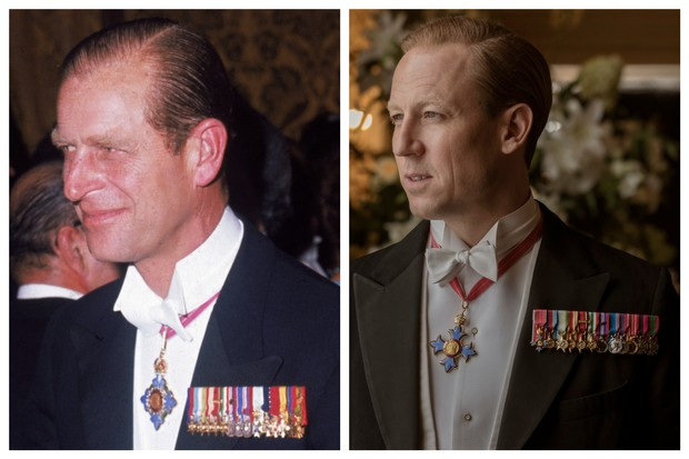 The Crown series three star Tobias Menzies side by side with Prince Philip (Getty/Netflix)
