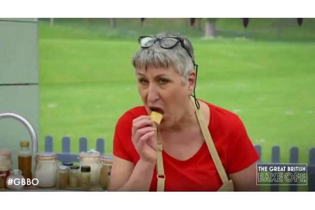 Bake Off's Karen eating crisps