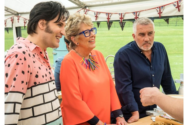 Noel Fielding, Prue Leith and Paul Hollywood in Bake Off 2018 (Channel 4)