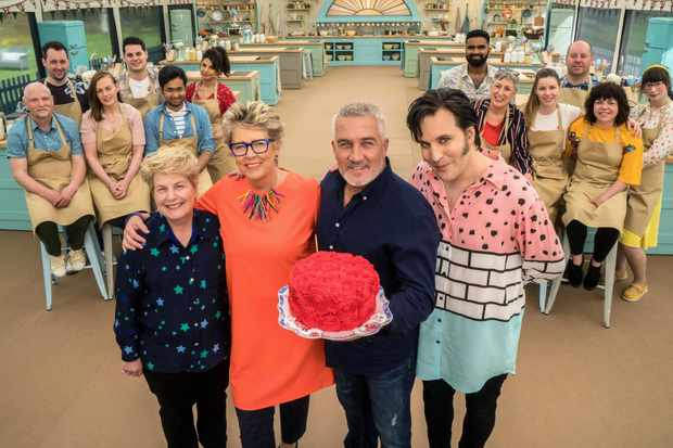 The Great British Bake Off 2018 - all 12 bakers, presenters Noel Fielding, Sandi Toksvig and judges Paul Hollywood, Prue Leith