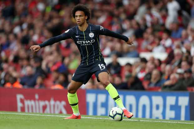 LONDON, ENGLAND - AUGUST 12: Leroy Sane of Manchester City during the Premier League match between Arsenal FC and Manchester City at Emirates Stadium on August 12, 2018 in London, United Kingdom. (Photo by James Baylis - AMA/Getty Images)  TL