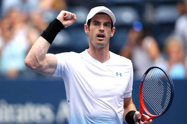 NEW YORK, NY - AUGUST 27: Andy Murray of Great Britain celebrates his victory in his men's singles first round match against James Duckworth of Australia on Day One of the 2018 US Open at the USTA Billie Jean King National Tennis Center on August 27, 2018 in the Flushing neighborhood of the Queens borough of New York City. (Photo by Matthew Stockman/Getty Images) TL