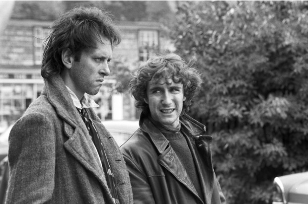 British actors Paul McGann and Richard E. Grant film a scene in Stony Stratford, Buckinghamshire, for the movie 'Withnail & I', 1986. (Photo by Murray Close/Getty Images)