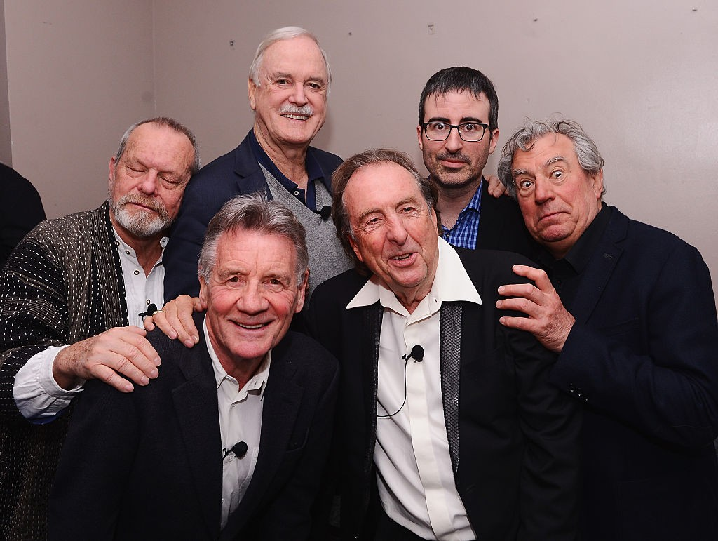 "NEW YORK, NY - APRIL 24:  (L-R)  Terry Gilliam, Michael Palin, John Cleese, Eric Idle, John Oliver, and Terry Jones pose for a photo backstage at the ""Monty Python And The Holy Grail"" special screening during the 2015 Tribeca Film Festival at Beacon Theatre on April 24, 2015 in New York City.  (Photo by Stephen Lovekin/Getty Images for the 2015 Tribeca Film Festival)"