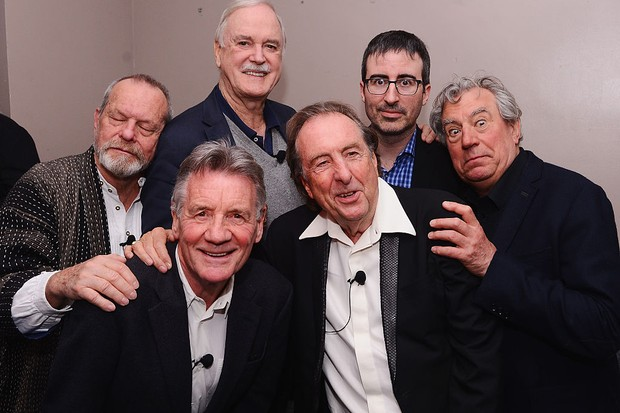 """NEW YORK, NY - APRIL 24:  (L-R)  Terry Gilliam, Michael Palin, John Cleese, Eric Idle, John Oliver, and Terry Jones pose for a photo backstage at the """"Monty Python And The Holy Grail"""" special screening during the 2015 Tribeca Film Festival at Beacon Theatre on April 24, 2015 in New York City.  (Photo by Stephen Lovekin/Getty Images for the 2015 Tribeca Film Festival)"""