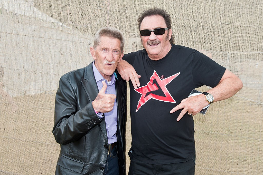WAREHAM, ENGLAND - JULY 29:  Chuckle Brothers pose backstage on Day2 of Camp Bestival at Lulworth Castle on July 28, 2016 in Wareham, England.  (Photo by Joseph Okpako/WireImage)