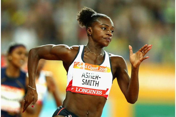 GOLD COAST, AUSTRALIA - APRIL 11: Dina Asher-Smith of England competes in the Women's 200 metres semi finals during athletics on day seven of the Gold Coast 2018 Commonwealth Games at Carrara Stadium on April 11, 2018 on the Gold Coast, Australia. (Photo by Dean Mouhtaropoulos/Getty Images)TL