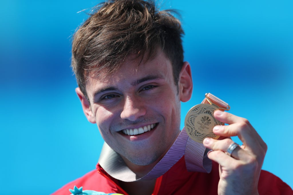 GOLD COAST, AUSTRALIA - APRIL 13: Tom Daley is seen after winning the Men's 10m Syncro Platform with Daniel Goodfellow during Diving on day nine of the Gold Coast 2018 Commonwealth Games at Optus Aquatic Centre on April 13, 2018 on the Gold Coast, Australia. (Photo by Ian MacNicol/Getty Images)