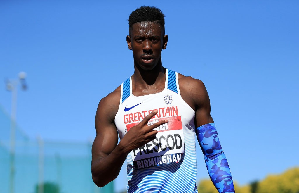 Team GB sprinter Reece Prescod celebrates winning the men's 100m Final during the 2018 British Athletics Championships (Getty)