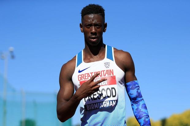 Team GB sprinter Reece Prescod celebrates winning the men's 100m Final during the 2018 British Athletics Championships (Getty)