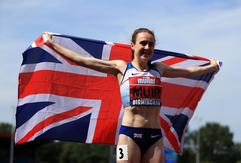 BIRMINGHAM, ENGLAND - JULY 1:  Laura Muir of Great Britain celebrates winning the Women's 800m Final during Day Two of the Muller British Athletics Championships at the Alexander Stadium on July 1, 2018 in Birmingham, England. (Photo by Stephen Pond - British Athletics/Getty Images)