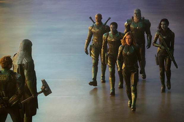 Pictured - Leader of Starforce (Jude Law), Ronan (Lee Pace), Korath (Djimon Hounsou), Att-Lass (Algenis Perez Soto), Carol Danvers/Captain Marvel (Brie Larson), Bron-Char (Rune Temte) and Minn-Erva (Gemma Chan)