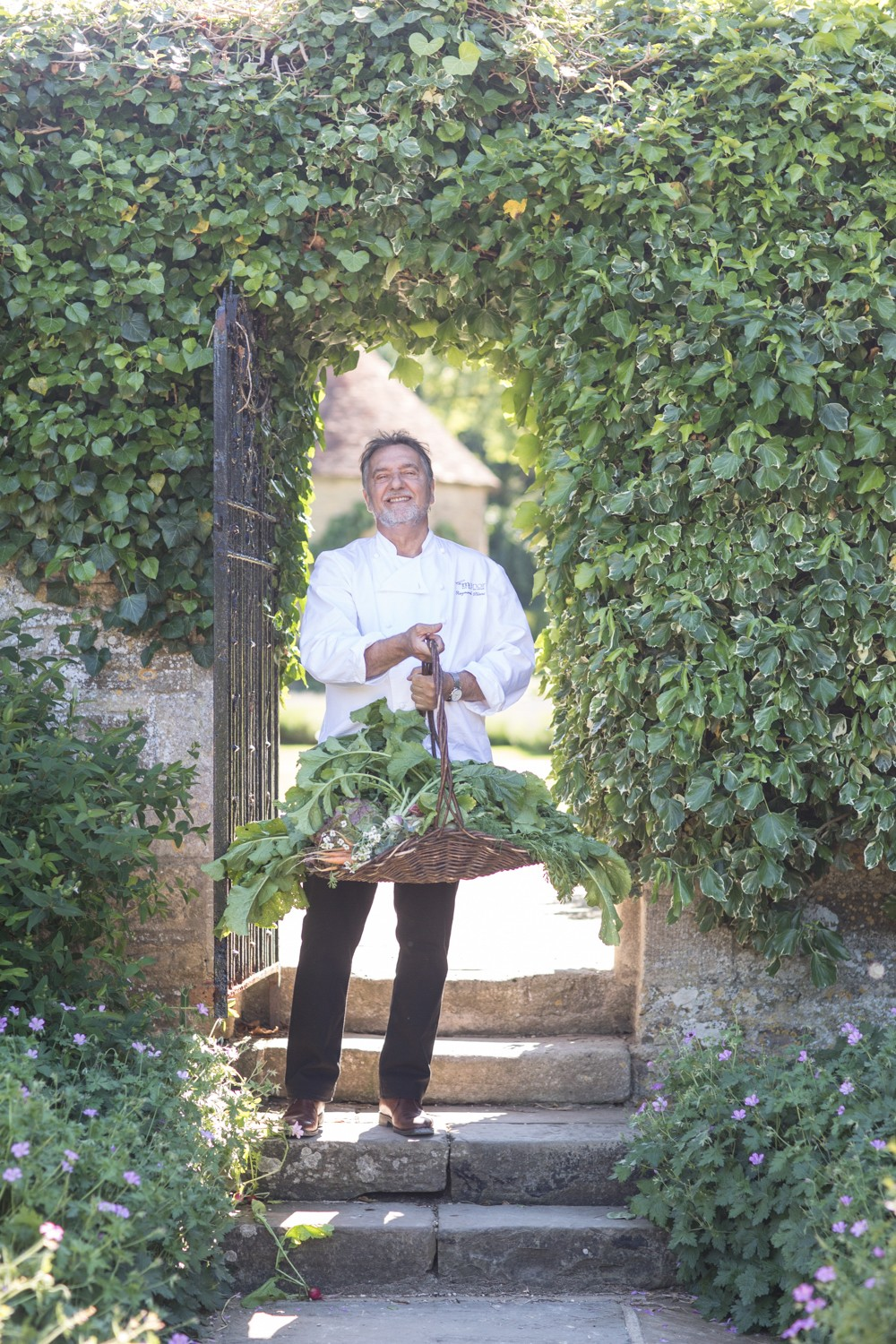 Raymond Blanc with fresh produce from the gardens