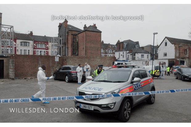 A shot of a police scene in series 2 of Unforgotten, with the caption: indistinct chattering in background
