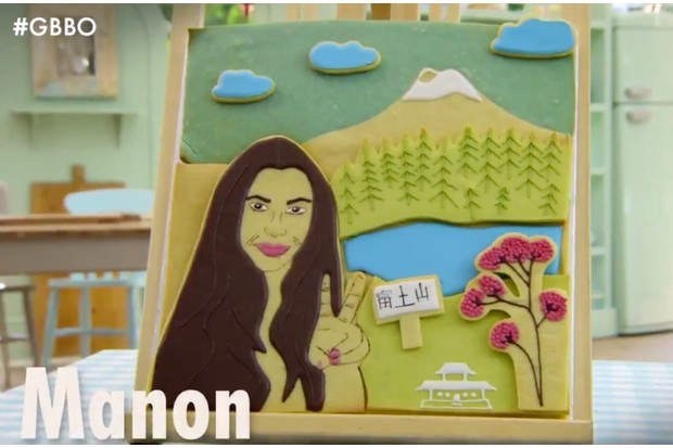 Star Baker Manon created a Japanese-inspired selfie biscuit portrait flavoured with matcha and white chocolate (Channel 4)