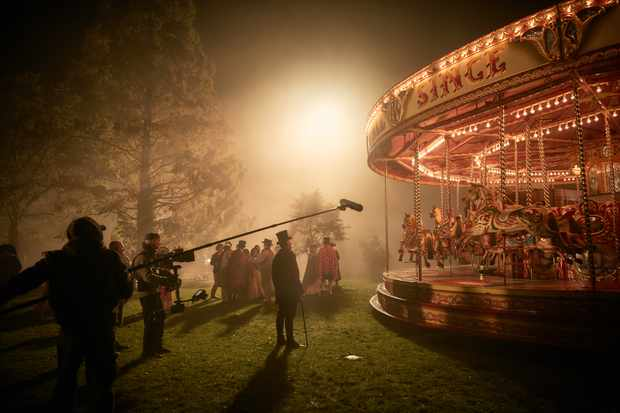 Michael Palin filming the carousel scenes in Vanity Fair