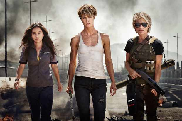 Natalia Reyes, Mackenzie Davis and Linda Hamilton in the first look photo for Terminator 6 (Fox)