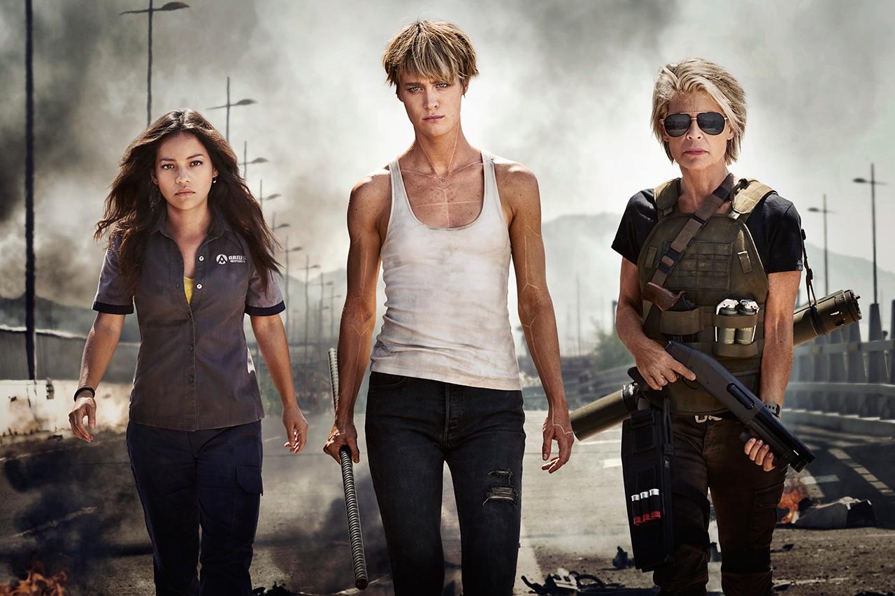 Natalia Reyes, Mackenzie Davis and Linda Hamilton in the first look photo for Terminator 6 (Fox)