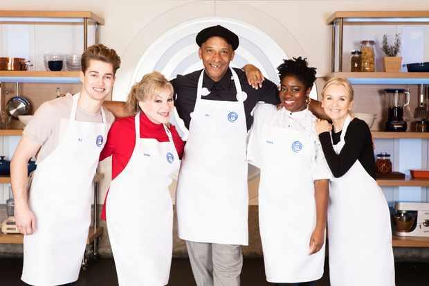 AJ Pritchard, Stella Parton, Jay Blades, Clara Amfo, Lisa Maxwell (Celebrity Masterchef) (BBC)