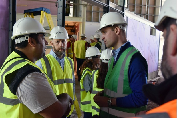 The Duke of Cambridge Prince William visits DIY SOS: Grenfell (BBC)