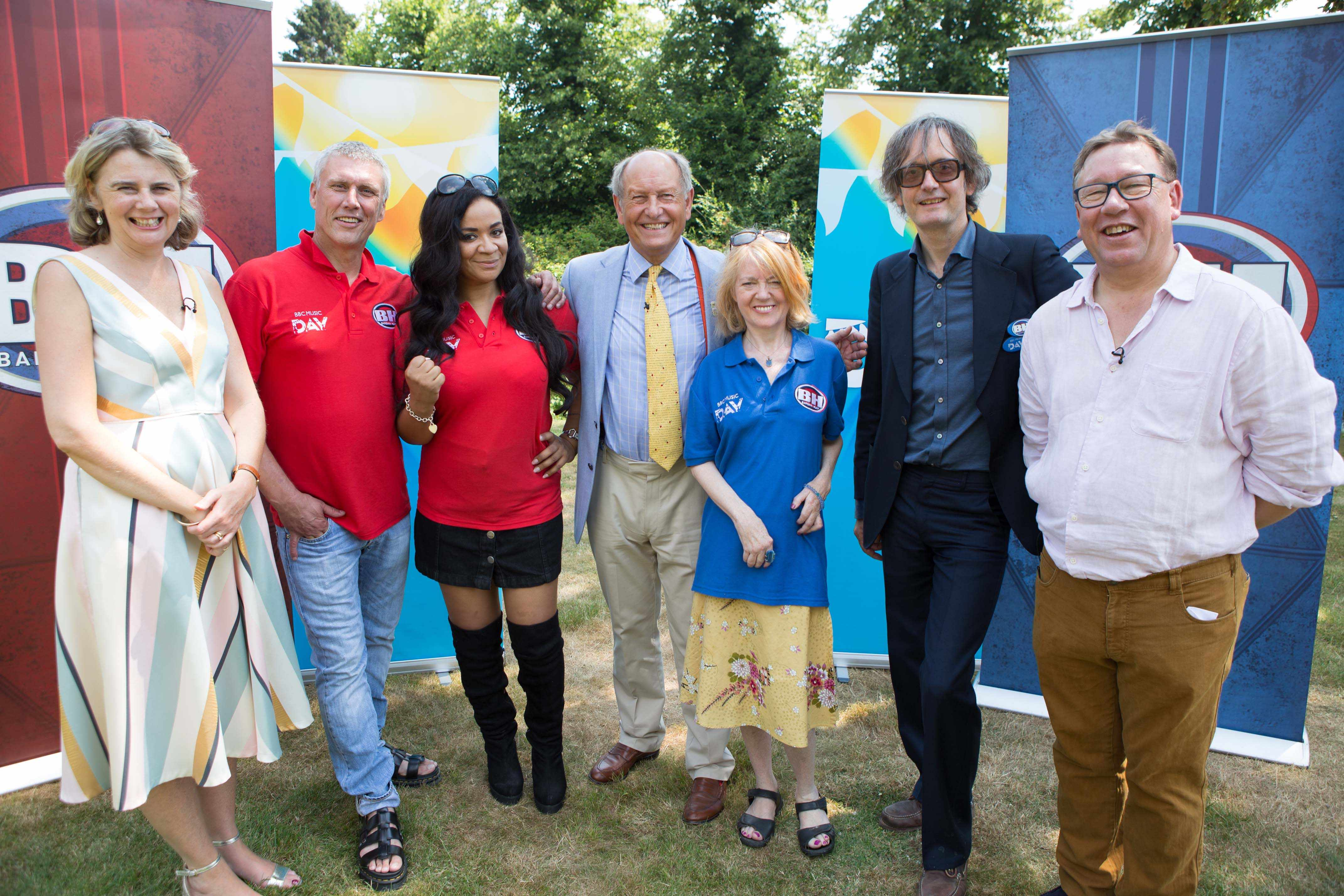 Programme Name: BBC Music Day - TX: 31/07/2018 - Episode: n/a (No. n/a) - Picture Shows:  Catherine Southon, Bez, Rowetta Idah, Thomas Plant, Candida Doyle , Jarvis Cocker, Mark Stacey - (C) BBC - Photographer: BBC