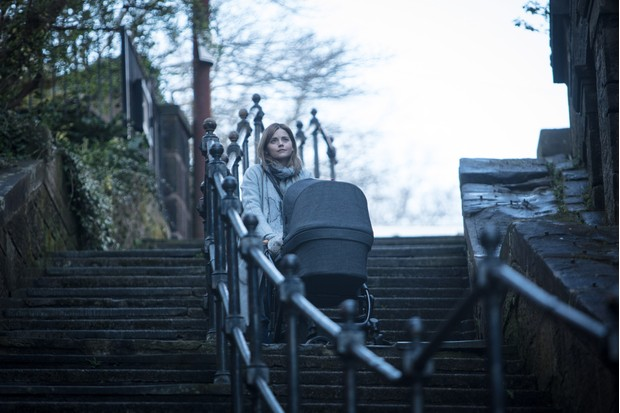 Jenna Coleman with a pram on The Cry