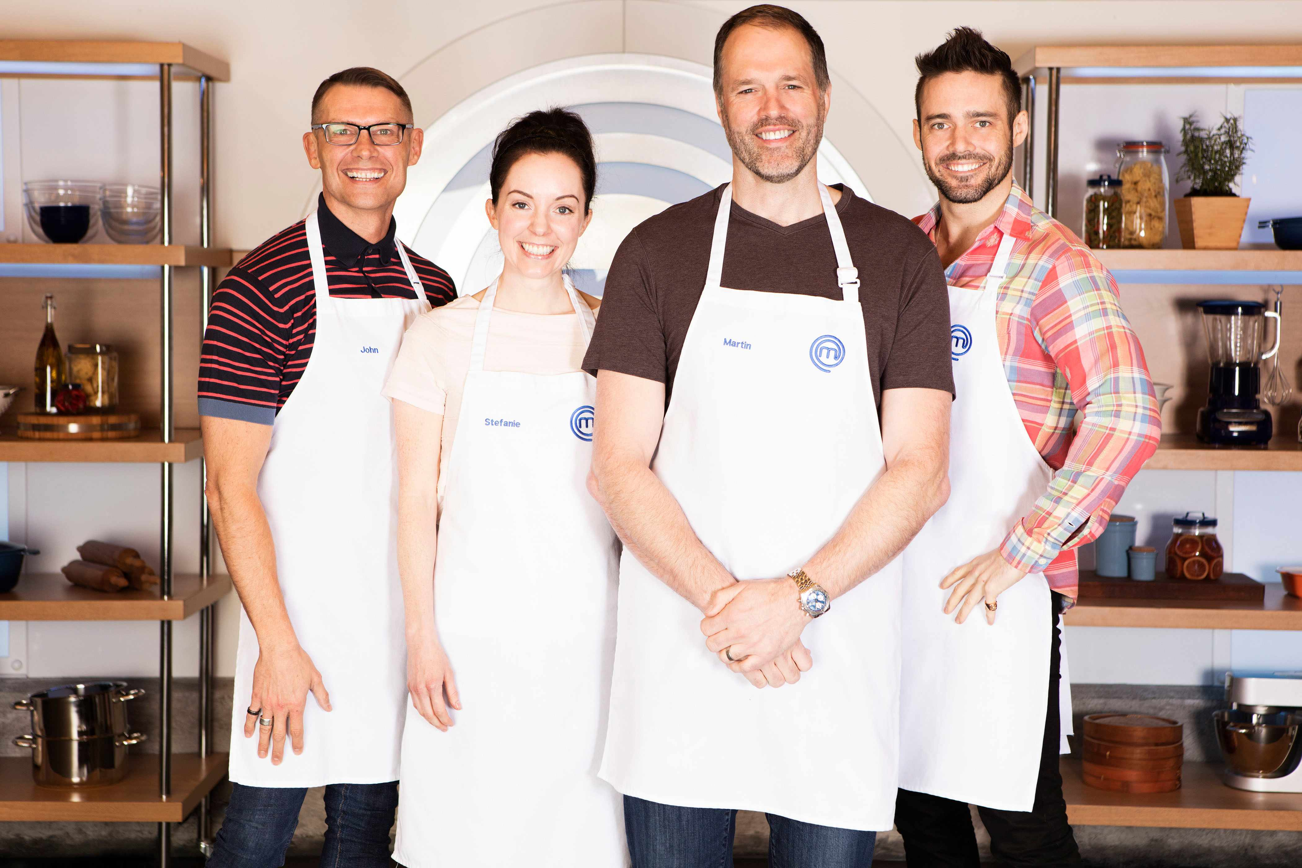 Programme Name: Celebrity Masterchef S13 - TX: n/a - Episode: n/a (No. The Final 4) - Picture Shows: **STRICTLY EMBARGOED UNTIL 22:01 HRS ON FRIDAY 21ST SEPTEMBER 2018**  The Final 4 John Partridge, Stef Reid, Martin Bayfield, Spencer Matthews - (C) Shine TV Ltd - Photographer: Production