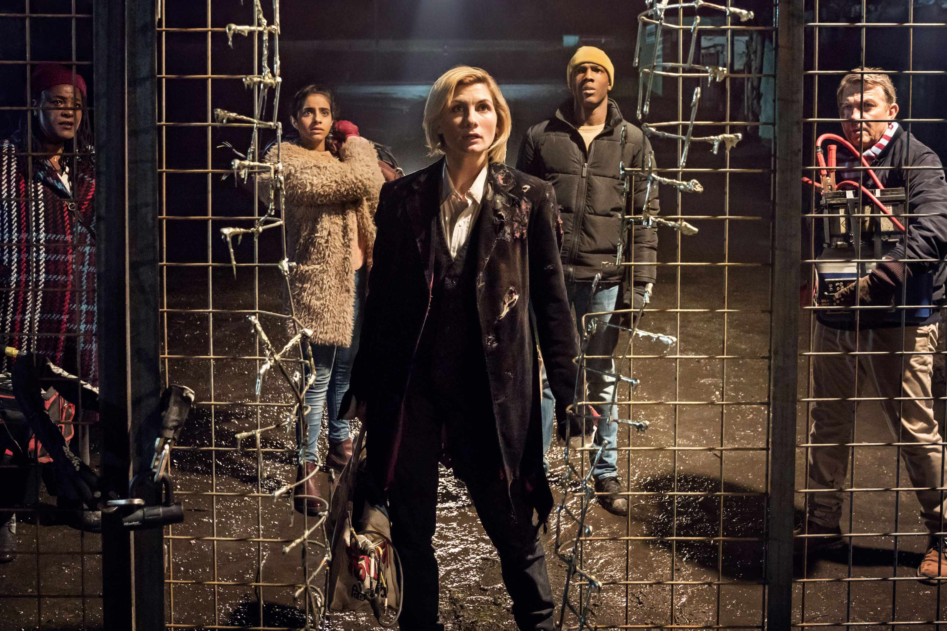 Sharon D Clarke, Mandip Gill, Jodie Whittaker, Tosin Cole and Bradley Walsh in Doctor Who series 11 (BBC, HF)