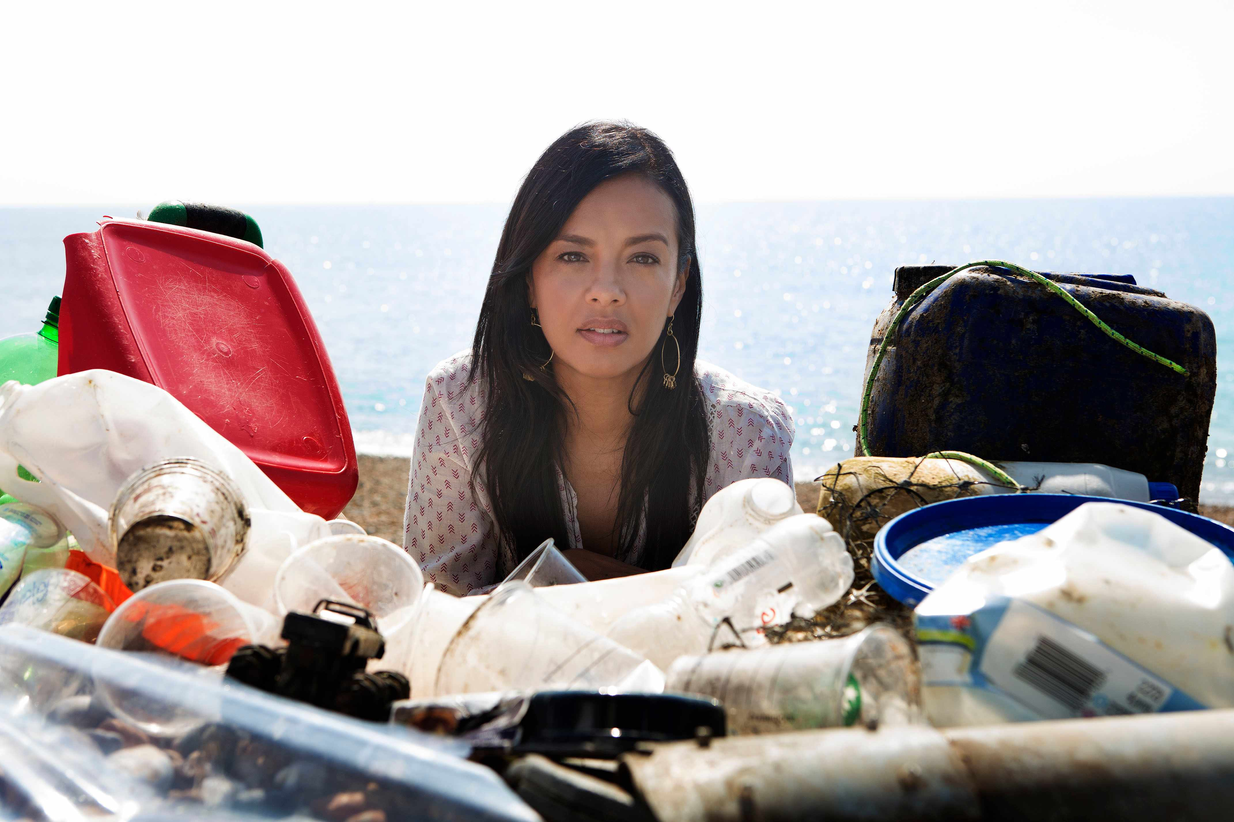 Programme Name: Drowning in Plastic - TX: n/a - Episode: n/a (No. n/a) - Picture Shows: surrounded by sea plastic. Liz Bonnin - (C) Raw TV Ltd - Photographer: Cody Burridge