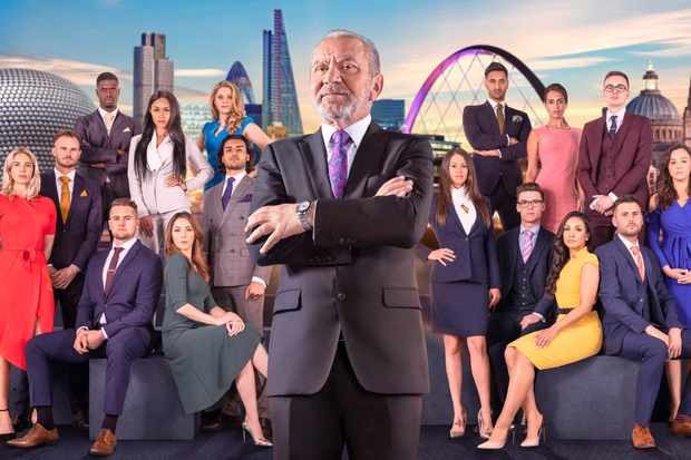 WARNING: Embargoed for publication until 10:00:01 on 25/09/2018 - Programme Name: The Apprentice  - TX: n/a - Episode: n/a (No. n/a) - Picture Shows: **IMAGE EMBARGOED FROM PUBLICATION UNTIL 10AM TUESDAY 25TH SEPTEMBER 2018**  Lord Sugar with The Apprentice Candidates of 2018. Lord Sugar - (C) Boundless Taylor Herring - Photographer: Jim Marks TL