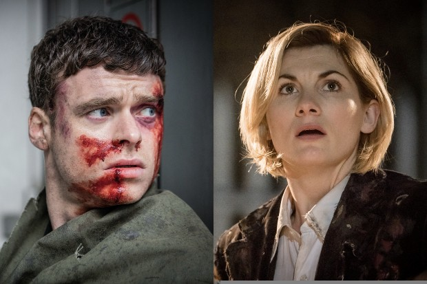 Richard Madden as David Budd in Bodyguard; Jodie Whittaker as the Doctor in Doctor Who (BBC, HF)