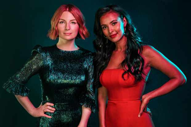 Alice Levine and Maya Jama hosting Channel 4's The Circle (C4, HF)