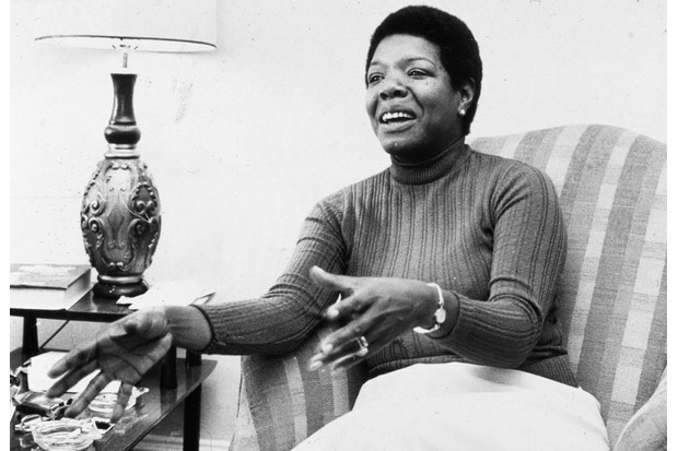 8th April 1978: American poet and author Maya Angelou gestures while speaking in a chair during an interview at her home. (Photo by Jack Sotomayor/New York Times Co./Getty Images)