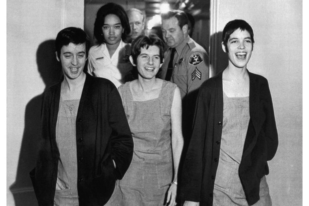 Susan Denise Atkins, (left), Patricia Krenwinkel and Leslie Van Houten,(right), laugh after receiving the death sentence for their part in the Tate-LaBianca killing at the order of Charles Manson.