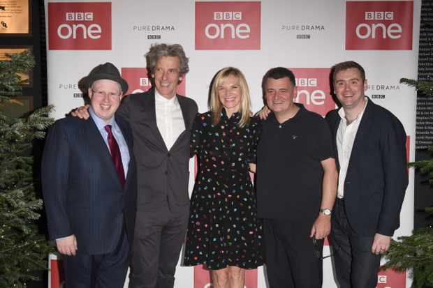 Matt Lucas, Peter Capaldi, Jo Whiley, Steven Moffat and Brian Minchin (Getty)